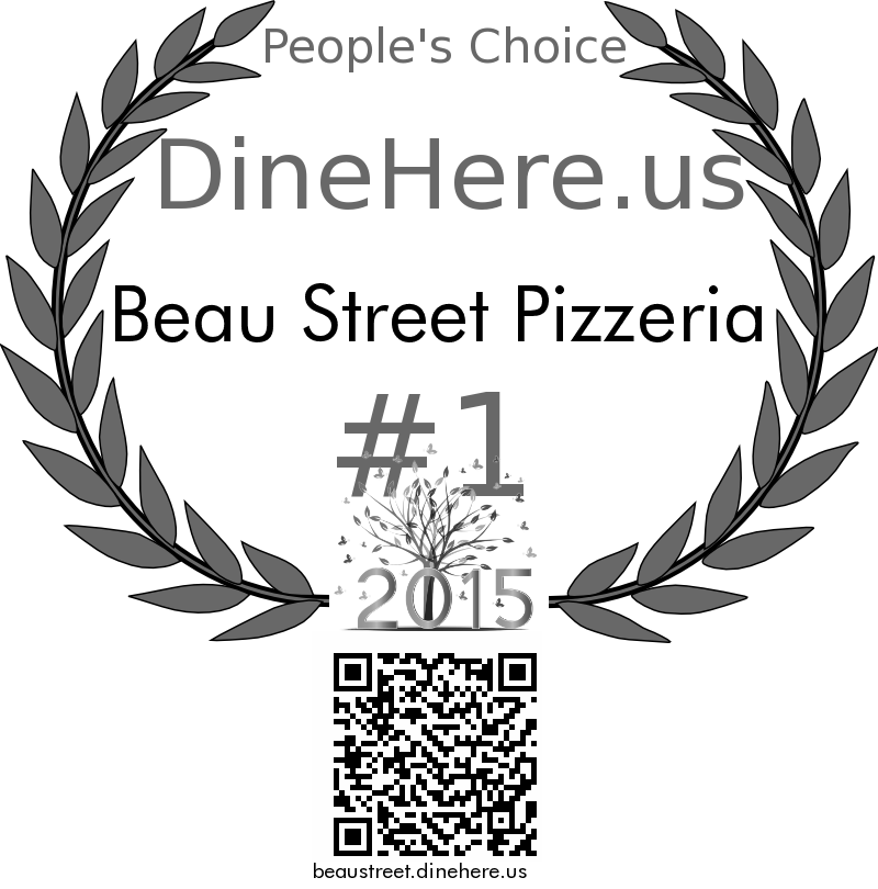 Beau Street Pizzeria DineHere.us 2015 Award Winner