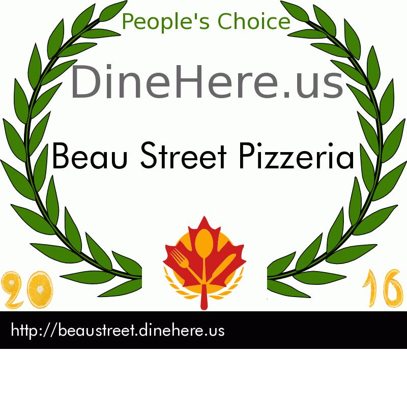 Beau Street Pizzeria DineHere.us 2016 Award Winner